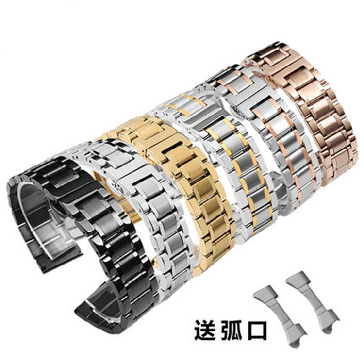 Universal Double Use Band Curved Steel Belt For Solid Stainless Men and Women Watch 14-24mm