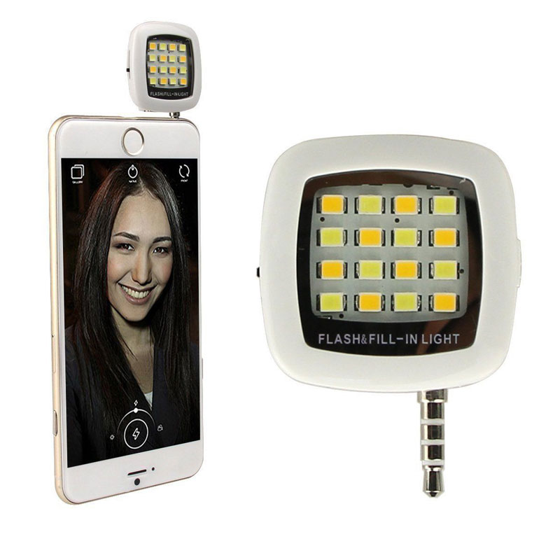 Multiple Photography Mini Selfie Sync Flash Light with Built-in 16 Led Lights for iPhone 5S 6 7 Plus Samsung Galaxy Phone Camera ...