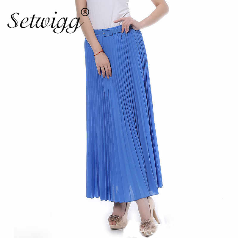 577c08698406 SETWIGG 90cm Long Chiffon Accordion Pleated Skirts Elastic Waist Belt  Casual Candy Maxi Long Bohemian Summer