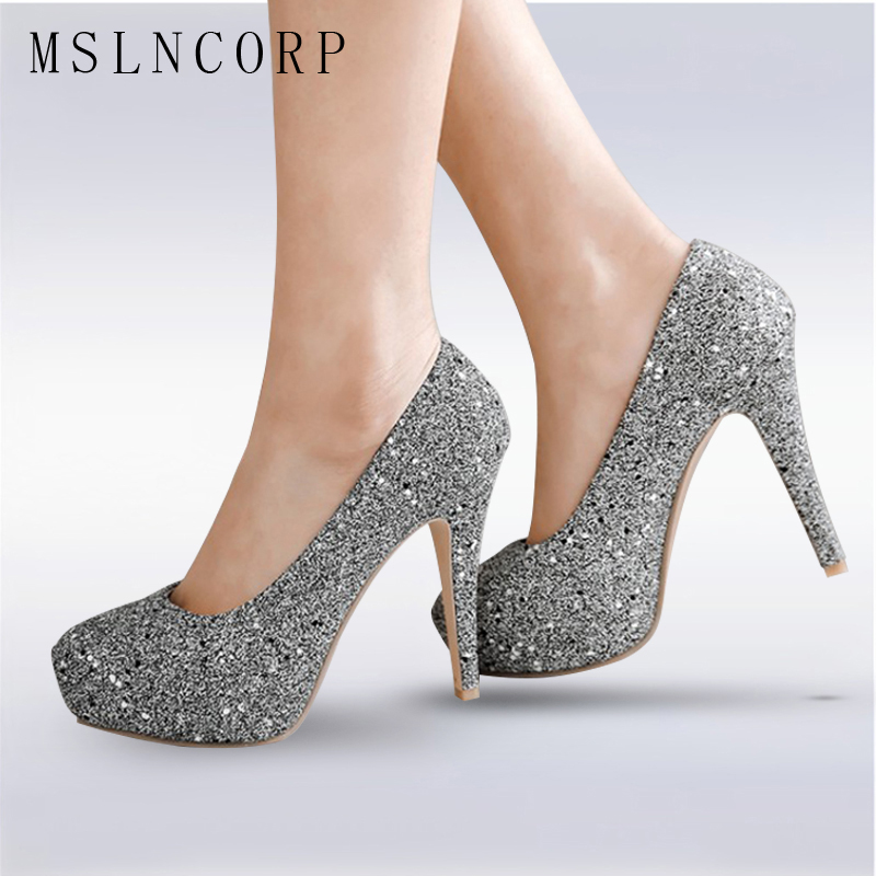 Plus Size 34-48 Women Pumps Bling High Heels Fashion Pumps Glitter High Heel Shoes Woman Slip On Sexy Wedding Shoes Gold Silver