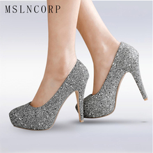 plus size 34-48 Women Pumps Bling High Heels Fashion Pumps Glitter High Heel Shoes Woman Slip On Sexy Wedding Shoes Gold Silver все цены