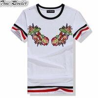 True Reveler Flower Bird Embroidery T Shirt Men Black And White O Neck T Shirts Summer