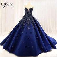 Lebanon 2018 Royal Blue Prom Dresses Embroidery Crystal Puffy Prom Gowns Beaded Abiye Formal Dress Robe