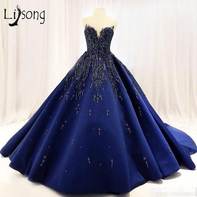 Lebanon 2018 Royal Blue Prom Dresses Embroidery Crystal Puffy Prom Gowns  Beaded Abiye Formal Dress Robe De Soiree Abendkleider 02b2c8b11564