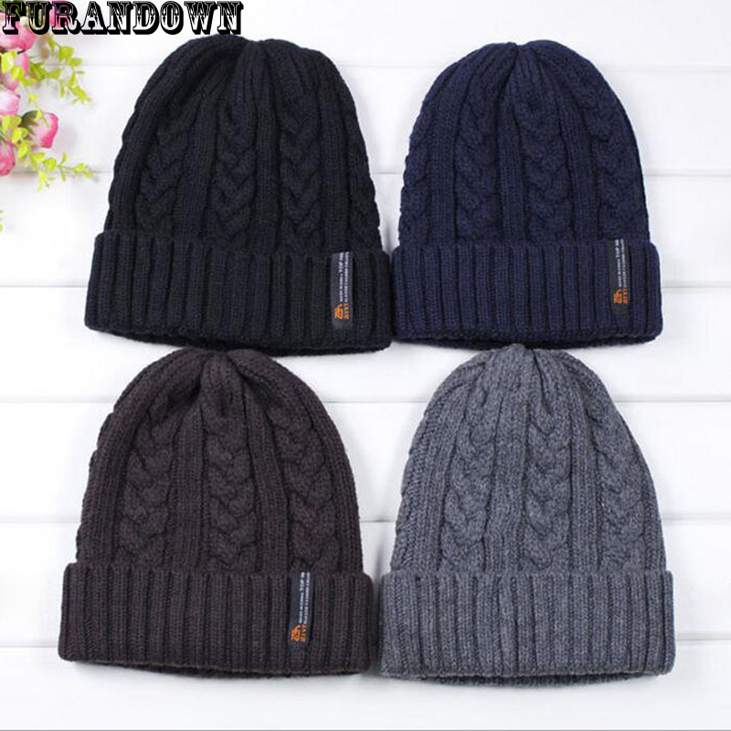 2017 Mens Winter Hats 30% Wool Knit Beanies For Men Warm Thick skullies Brand Casual bonnet Caps