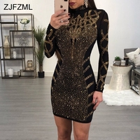 ZJFZML Women Black Mesh Dresses Evening Party Club Diamond Rhinestone Dress Sexy Sparkling Long Sleeve Bodycon