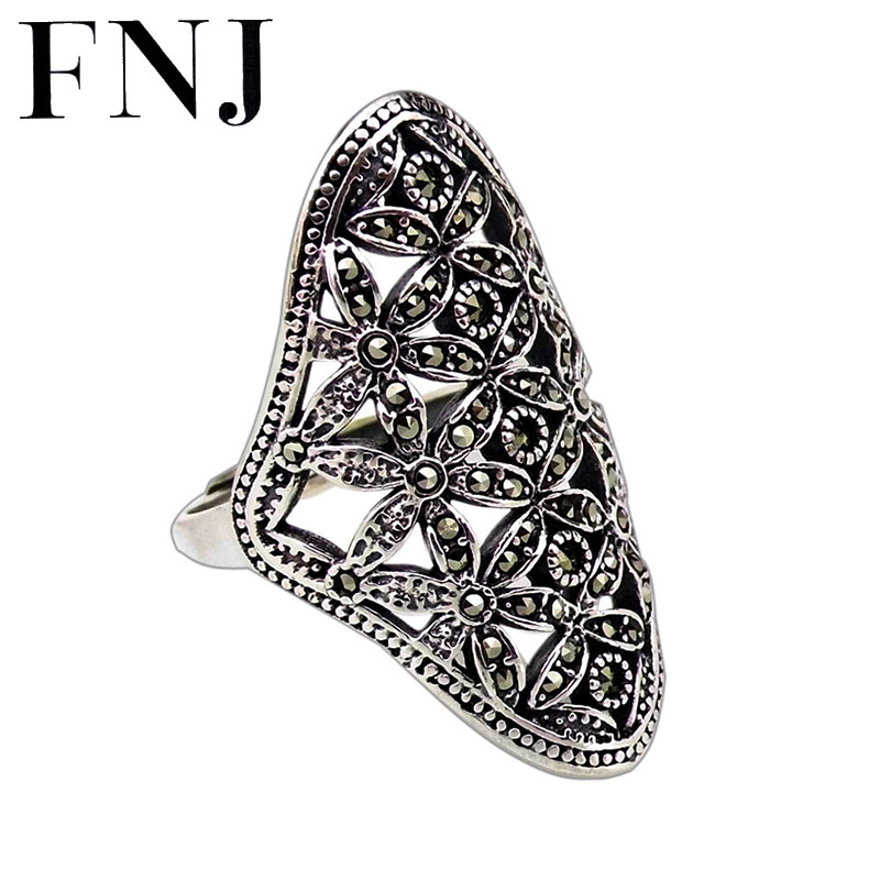 FNJ 925 Silver Statement Flower Ring MARCASITE New Fashion Original S925 Sterling Silver Rings for Women