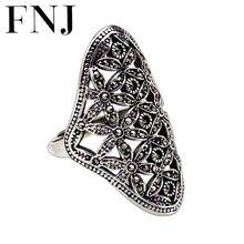FNJ 925 Declaração de Prata MARCASITE Anel de Flor de Moda de Nova Original S925 Esterlina Anéis de Prata para As Mulheres Jóias Tamanho Ajustável