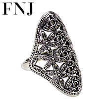 FNJ 925 Silver Statement Flower Ring MARCASITE New Fashion Original S925 Sterling Silver Rings for Women Jewelry Adjustable Size