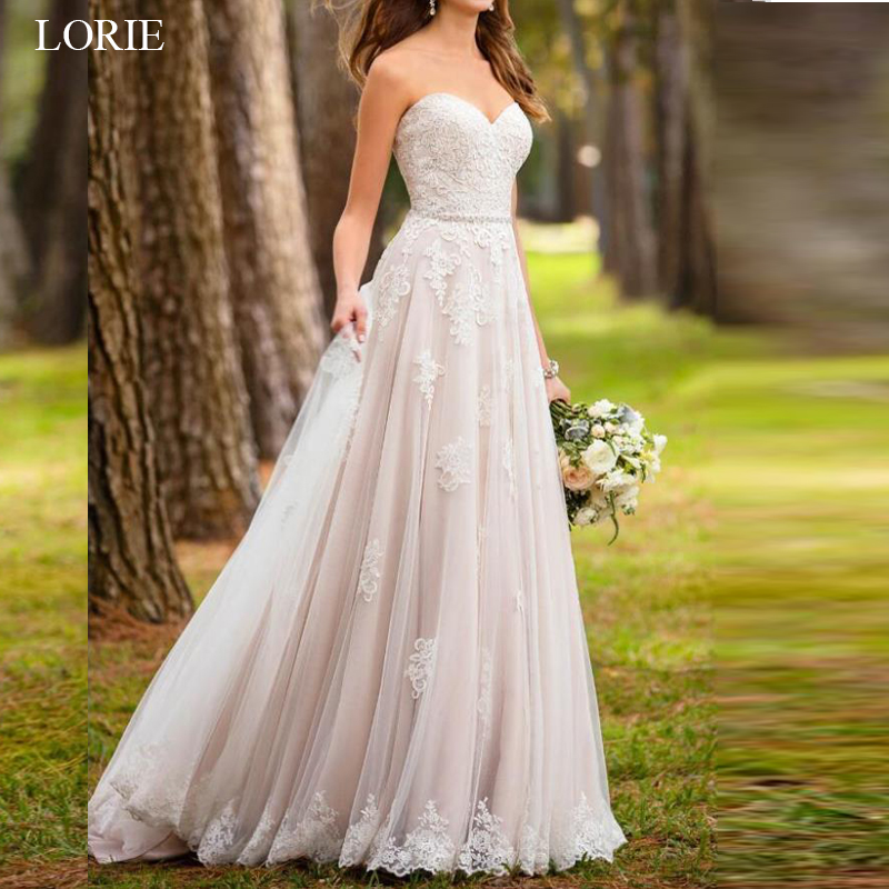 LORIE A line Wedding dresses Lace Appliques Summer Sleeveless Backless Wedding Dress Sweetheart Bridal Gowns Wedding