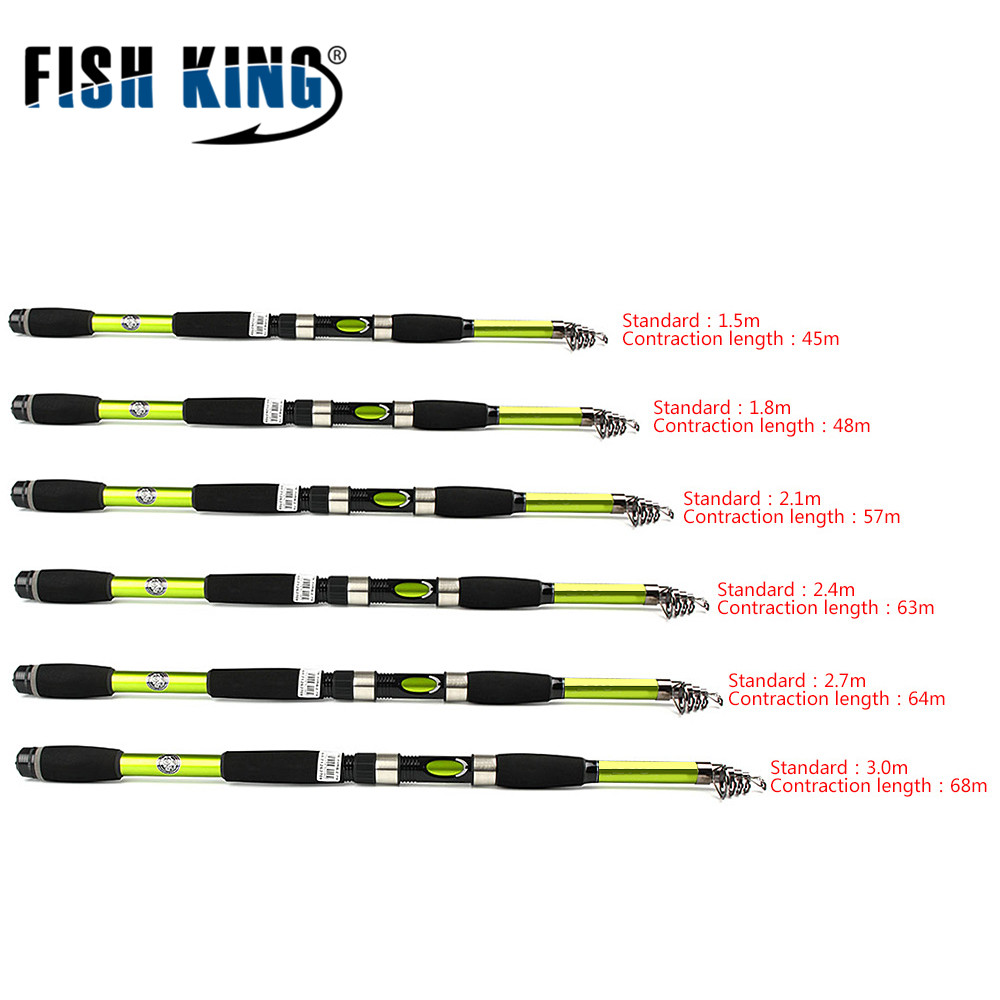 FISH KING Feeder Telescopic Spinning Fishing Rod 1.5/1.8/2.1/2.4/2.7/3M Carbon Super Hard Carp Rod FRP Travel Rod Fishing Pole