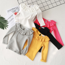 Хлопковая рубашка для маленьких девочек Однотонные топы с длинными рукавами на весну и осень, базовая футболка для девочек, RT508