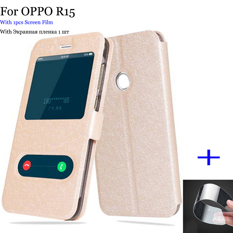 2PCS Phone skin For OPPO R15 case cover open window leather case R 15 Flip case For OPPO R 15 case back cover PACM00 shell