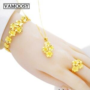 Fine Wedding Bridal Jewelry Set 100% 24K Gold Plum Blossom Design Open Rings,necklaces,bracelets for Women Dubai Jewelry Sets