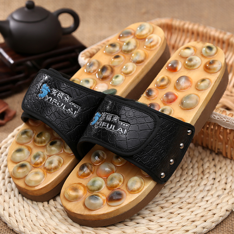 b03 natural cobblestone massage slippers slip-resistant lovers massage shoes Acupressure foot massage tornado