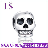 LS High Quality Halloween Skull Charm 925 Sterling Silver Bead Fit Original Bangles Bracelets Authentic Silver Charm
