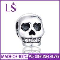 LS de Haute Qualité Halloween Crâne Charme 925 Sterling Argent Perle Fit Original Bracelets Bracelets Authentique Argent Charme