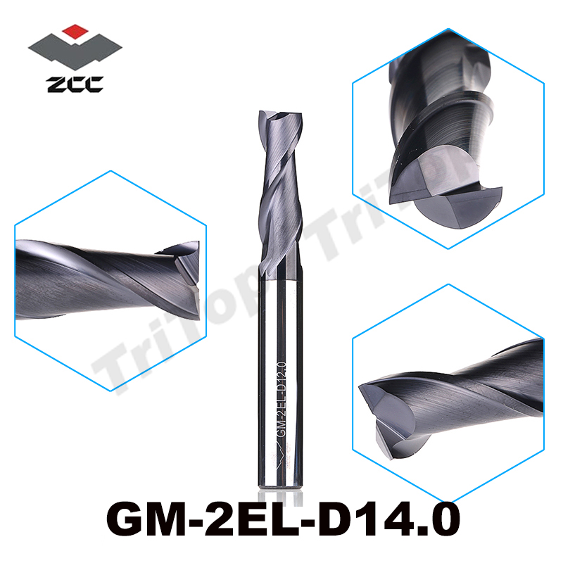 ZCC.CT GM-2EL-D14.0 Solid Carbide 2 flute flattened Long cutting edge end mills with straight shank tungsten carbide drill bits freeshipping 2pcs set woodworking milling cutter solid carbide end mill 1 4 shank router bit woodworking chisel cutter tool