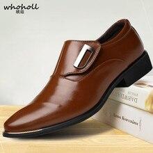 Size 47 48 Fashion PU Leather Men Dress Shoes Pointed Toe Bullock Oxfords Shoes for Men, Slip-on Designer Luxury Men Shoes