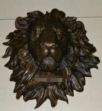 Медь Латунь КИТАЙСКИЙ ремесла Азии Изысканный огромный Львиная голова медная скульптура искусство висячего Н «18.1