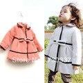 Envío gratis Chicas bowknot color puro abrigo de paño capa de los niños ropa de bebé