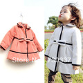 Free shipping Girls pure color bowknot cloth coat children's coat baby clothes