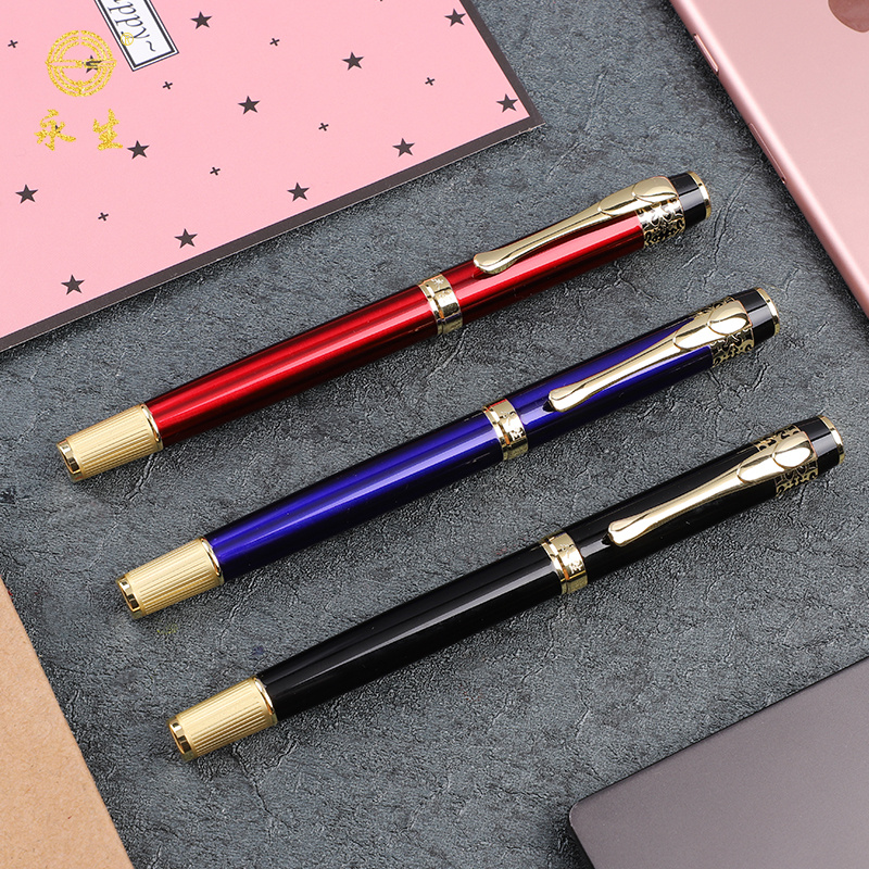 1pc Gold Trim Luxury Fountain Pen Exquisite Gift Stationery F Nib 0.5mm Red Blue Black Iridium Ink Pens Office School Supplies free shipping hero 234 carbon ink for fountain pens durable office supplies black red blue black