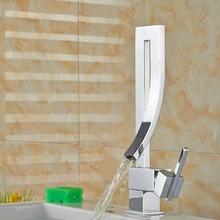 Moderno e elegante torneira da cozinha de água quente e fria única curva deck moute mixer torneira do banheiro para pia do banheiro