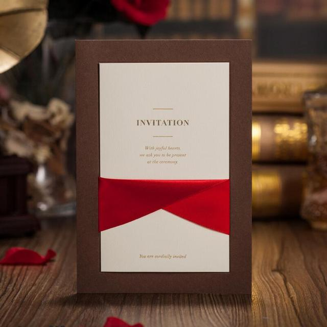 50pcs pack elegant creative ribbon wedding invitations cards