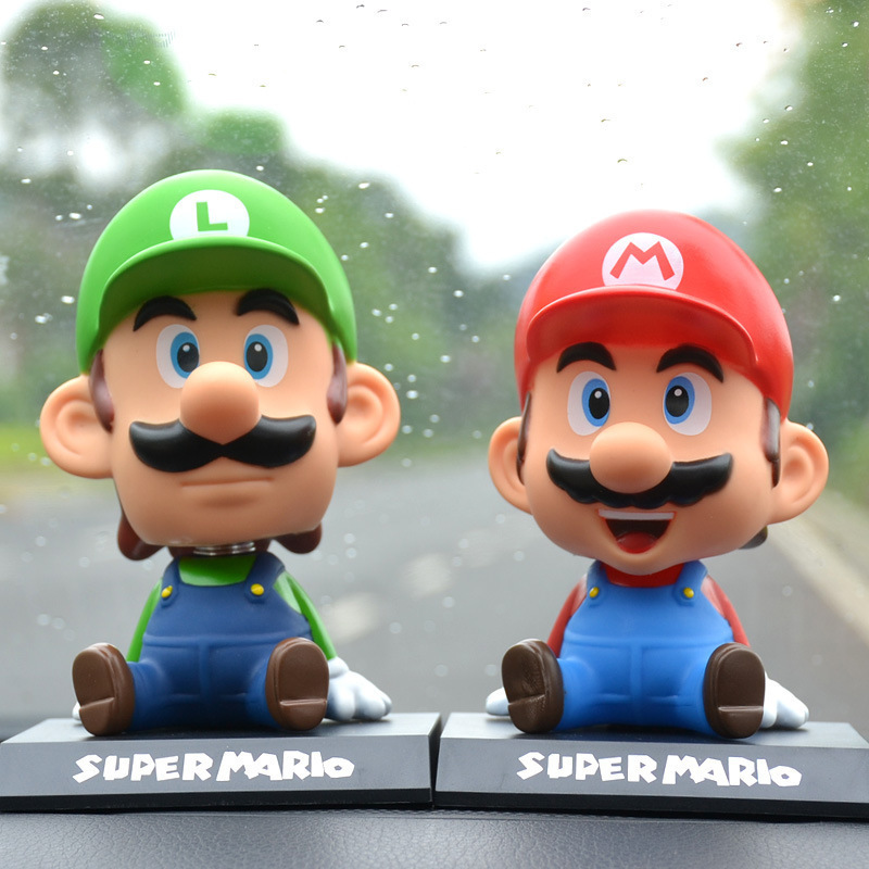 Super Mario Bros Action Figure Toys Cute Super Mario Head Shaking Action Figure Model Toy Car Decoration Children Kids Toy Gift solar powered head shaking cute hula couple desktop toy