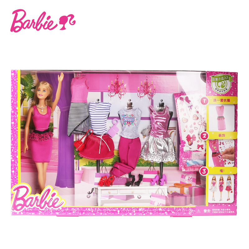Girl Fashion Barbie Creative Designer Diy Doll Clothes Playset American To Princess Dress Set Bonecas Doll Baby Toys Dky29 Aliexpress