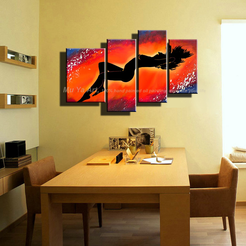 Large Abstract decorative wall panels naked women 4 piece canvas art ...