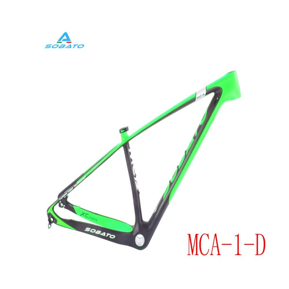 SOBATO 29er Carbon Red/ Green/ Orange Painting MTB Bike Frame Moutain Bicycle FM056 BB30 UD Matte 17/18.5/20