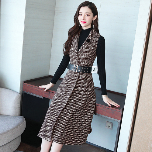 5b2c54f71bd55 ... Wool Dress Woman Elegant Long Dress. Korean Autumn And Winter Two Piece Women  Dress Plaid Office Lady A-line Dresses Fashion