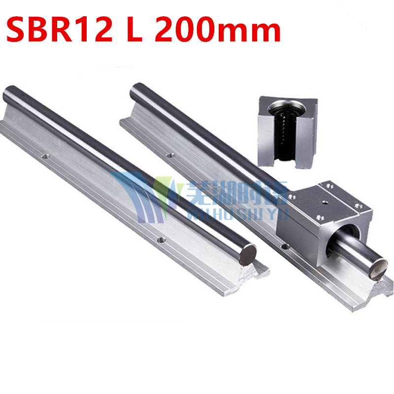 цены 12mm linear rail SBR12 L 200mm supporter rails 2 pcs + 4 pcs SBR12UU blocks for CNC for 12mm linear shaft support rails