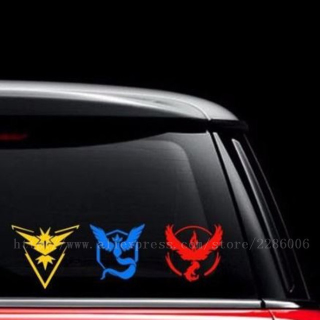 Hot pokemon go team car stickers and decals articuno moltres zapdos rear window decoration