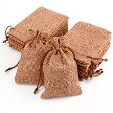 10 個ミニジュート巾着黄麻布バッグ結婚式の好意パーティークリスマスギフトジュエリーヘッセ行列袋ポーチパッキング収納袋S10