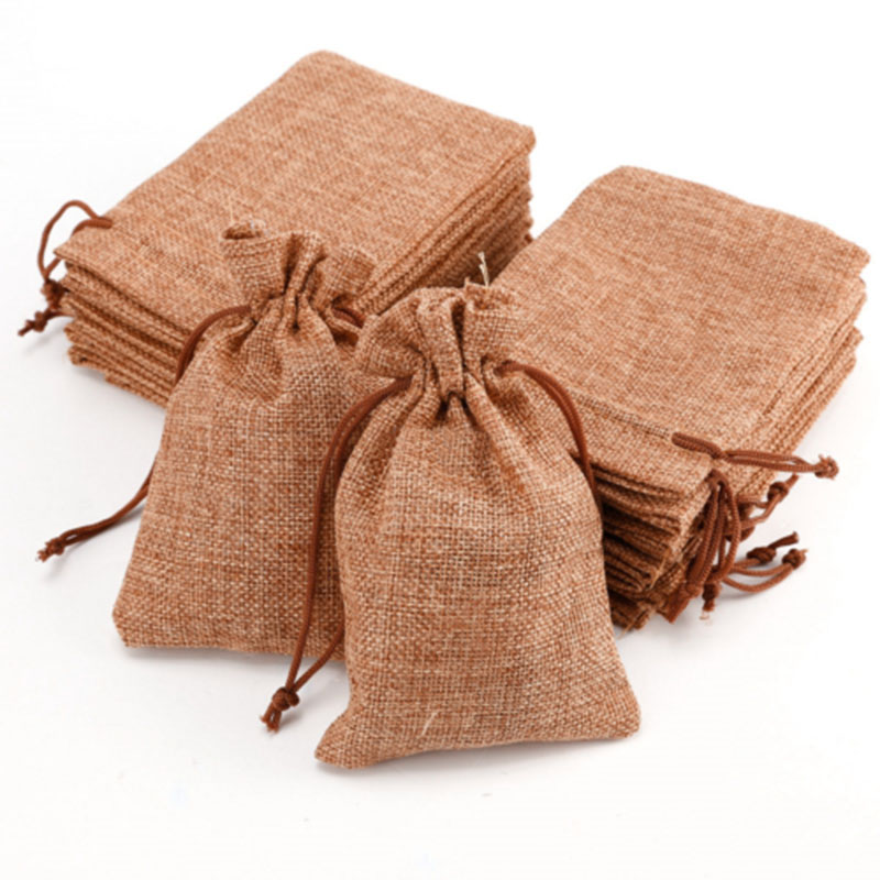 10PCS Mini Jute Drawstring Burlap Bags Wedding Favors Party Christmas Gift Jewelry Hessian Sack Pouches Packing Storage Bag S10