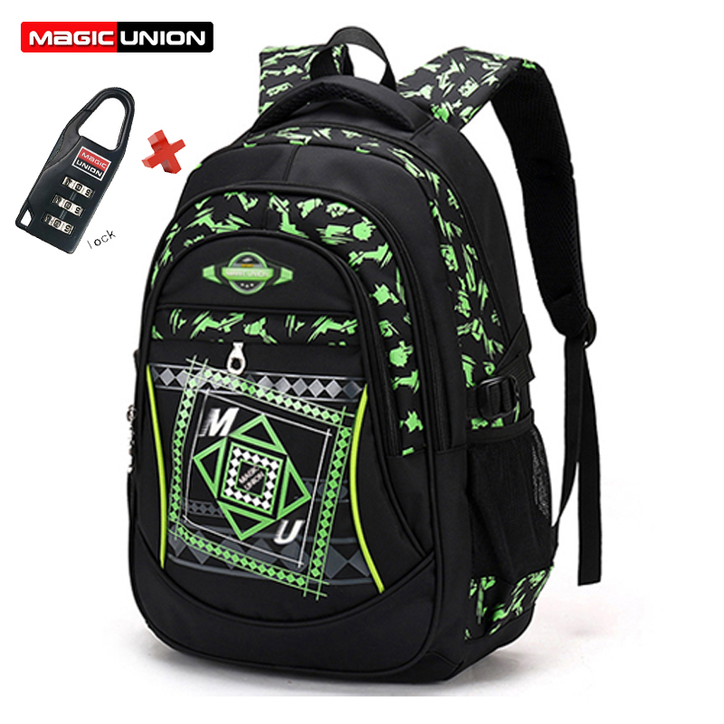 MAGIC UNION Children School Bags For Girls Boys Children Backpack Primary School Backpacks Fashion Waterproof Bags with Lock цена и фото