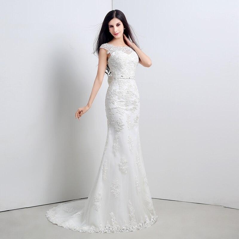 Cheap White Ivory Wedding Dresses Mermaid Lace Appliques: In Stock Cheap Elegant Ivory Appliques Beading Sash Belt