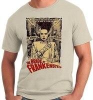 Cotton Men t-shirt Big và Tall Cô Dâu của Frankenstein Poster Phim Cổ Điển Adult T-Shirt Chất Lượng Cao Quần Áo Giản D