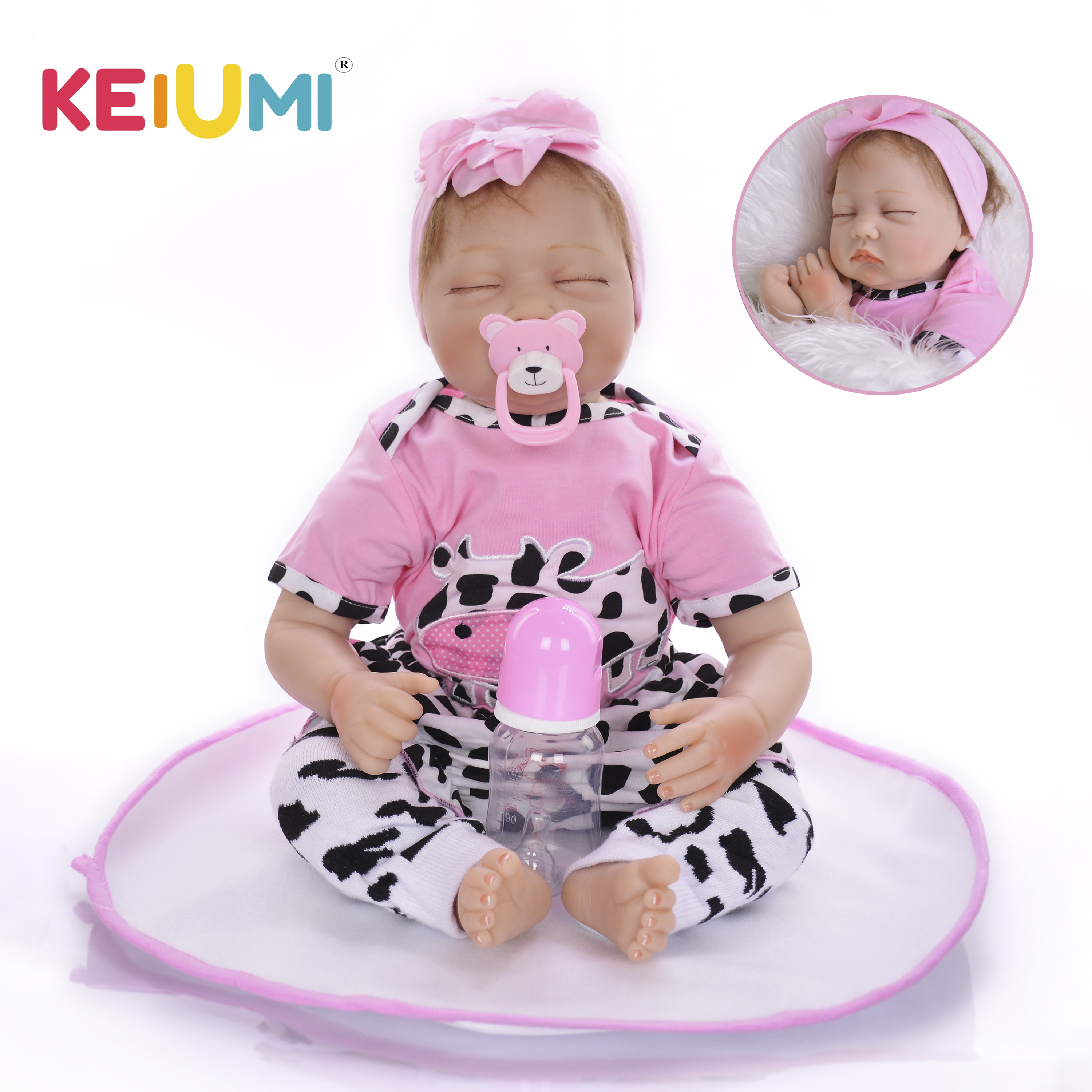 22 Inch Soft Silicone Baby Doll With Closed Eyes Realistic Newborn Reborn Girl Babies Doll Kids