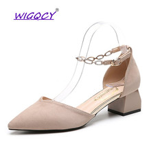 Pointed Toe Suede Square heel sandals women 2019 Summer shoes woman Fashion Buckle Strap Chain Ankle Strap ladies shoes female недорого