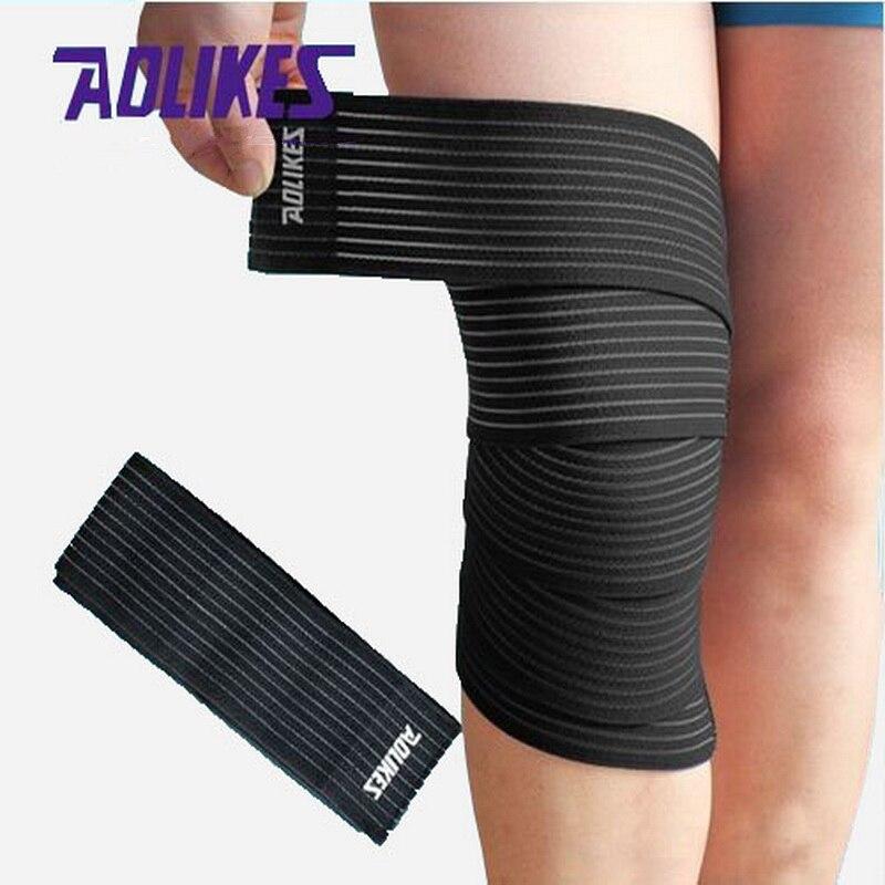 Prix pour AOLIKES 1 Paire 180*7.5 cm Haute Élastique Bandage Pour Genou Coude Jambe Compression Bandagem Elastica Sport Bande vendas par deporte