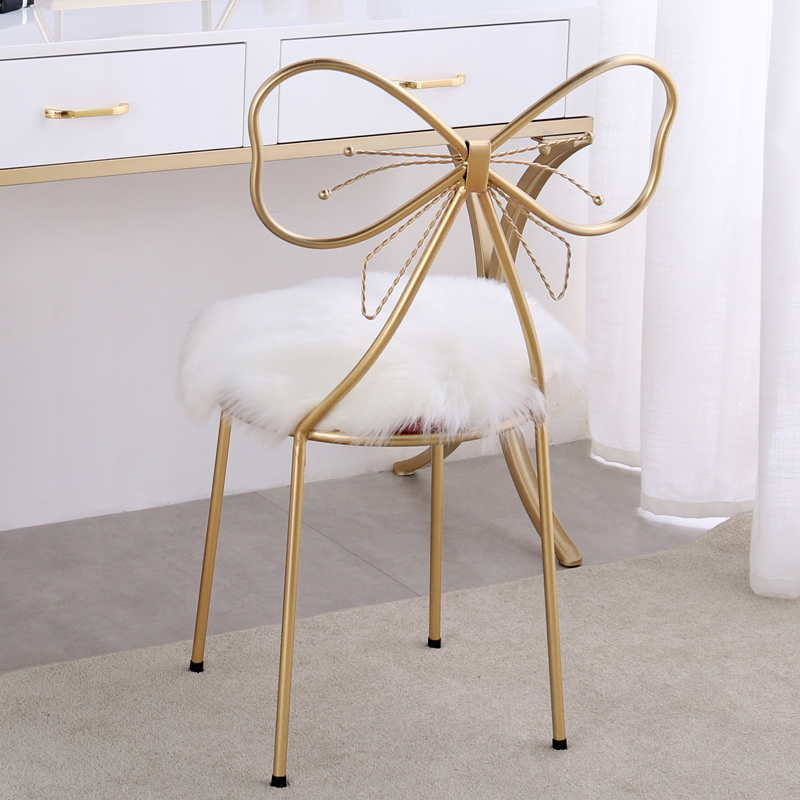 US $54.73 25% OFF|Makeup Stool Bedroom Modern Minimalist Bow Small Chair  Net Red Girl Heart Princess Dressing Table Dressing Stool-in Living Room ...