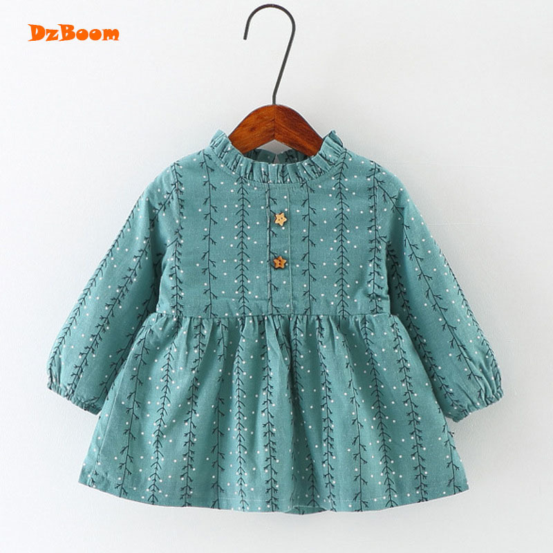 DzBoom 2017 Autumn Winter New Cute Princess Dresses Girls Toddler Girl Fashion Warm Fleece Kids Floral Print Dress Baby Clothes fashion toddler girls princess dress elegant floral bow vestidos for baby girl winter infant kids cotton lace dresses