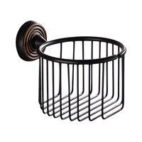 Luxury Black Brass Toilet Roll Holder Antique Bathroom Round Bathroom Toilet Paper Holder Bathroom Accessories