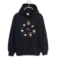 2018 Fashion hoodies bts bangtan boys all member Q cartoon black pullover for men women kpop sweatshirt tracksuit wholesale