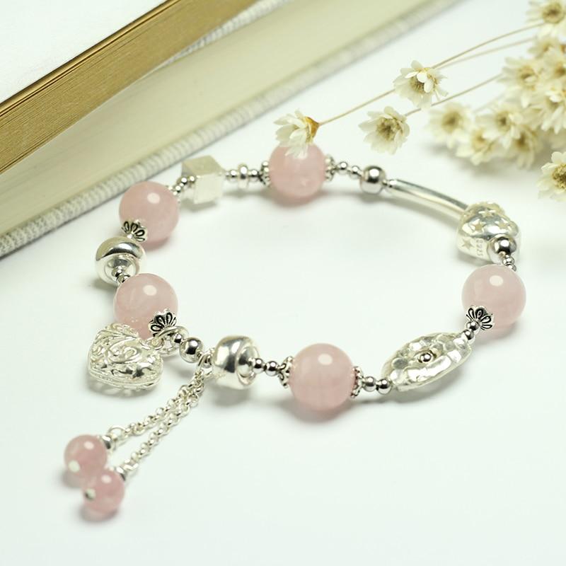 Sinya Girls Rose Quartz Bracelet in 925 sterling silver pink crystal elastic bangles for Lover women