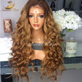 180% Full Lace Ombre Human Hair Wigs With Bleached Knots Two Tone Ombre Color Glueless Lace Front Wig Human Hair U Part Wigs